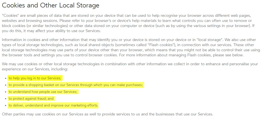 Oculus Privacy Policy: Cookies and other local storage clause
