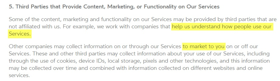 Oculus Privacy Policy: Third parties that provide content, marketing or functionality on our services clause