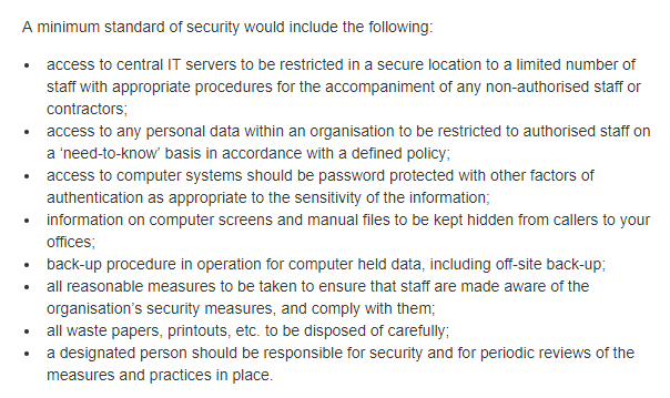 A Guide for Data Controllers from the Office of the Data Protection Commissioner of Ireland: Section on security