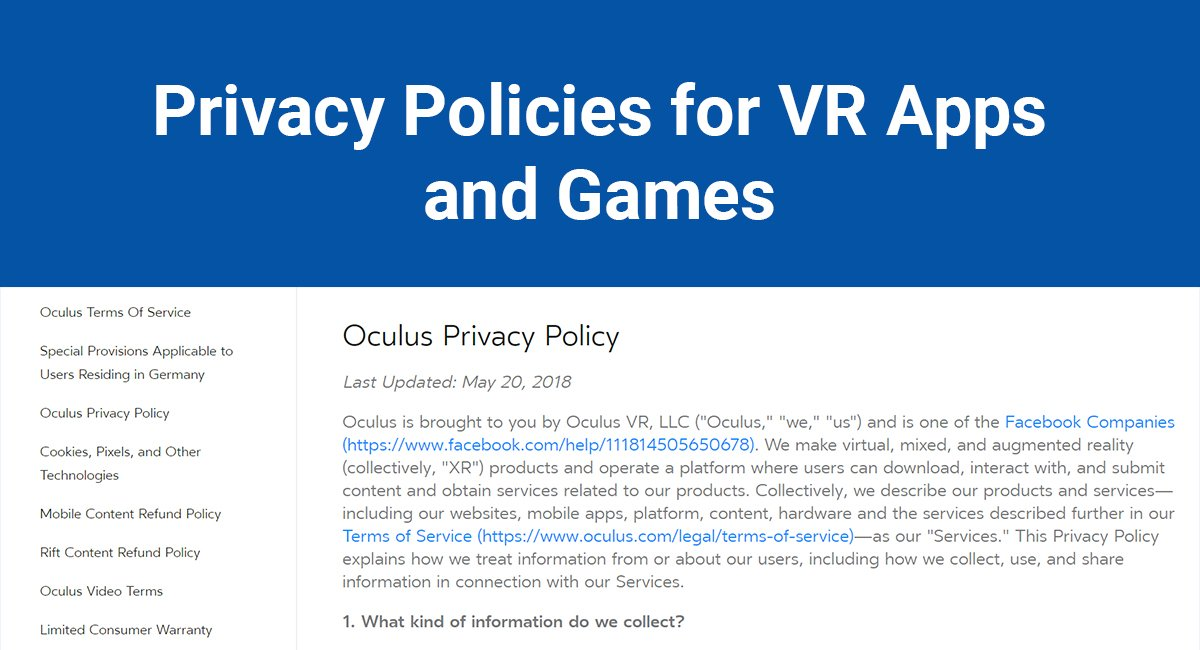 Image for: Privacy Policies for VR Apps and Games