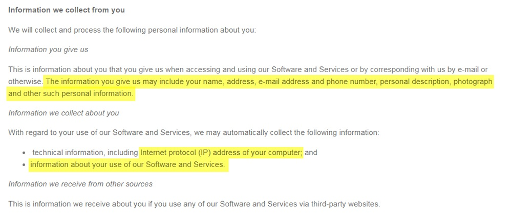 Solfar Privacy Policy: Information we collect from you clause excerpt