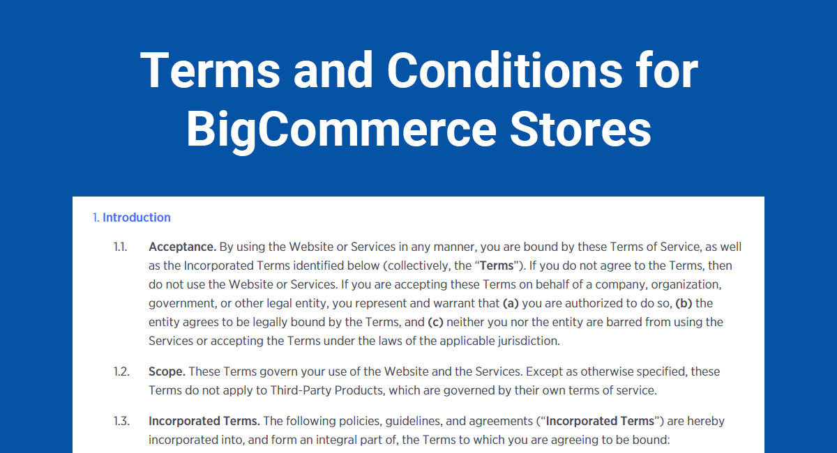 Terms and Conditions for BigCommerce Stores