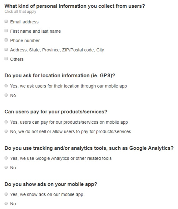 TermsFeed Privacy Policy Wizard for mobile apps: Screenshot of excerpt of questions to answer in step 3