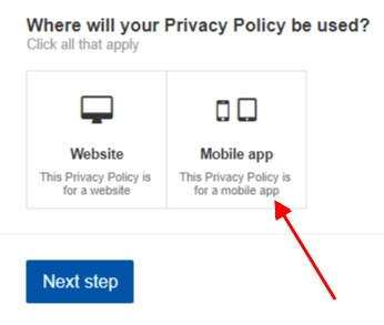 TermsFeed Privacy Policy Wizard screenshot of selecting mobile app step 1