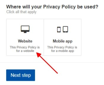 TermsFeed Privacy Policy Wizard screenshot of selecting website step 1