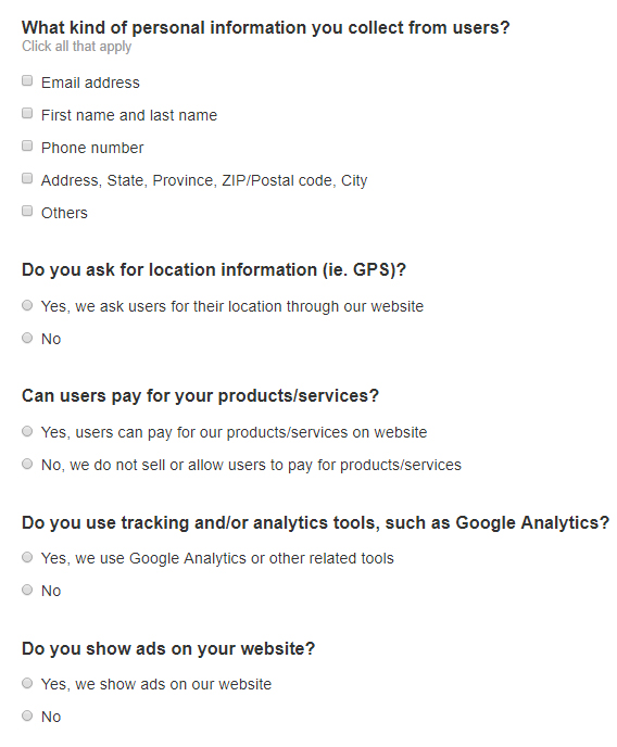 TermsFeed Privacy Policy Wizard for websites: Screenshot of excerpt of questions to answer in step 3