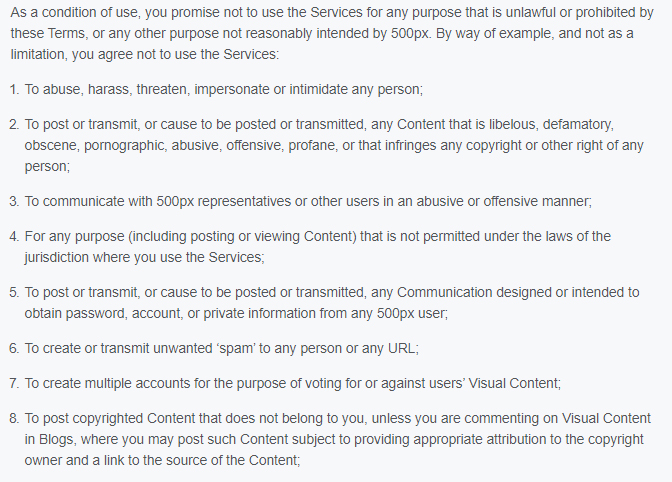 500px Terms Of Use Excerpt User Conduct Clause Prohibited Activities