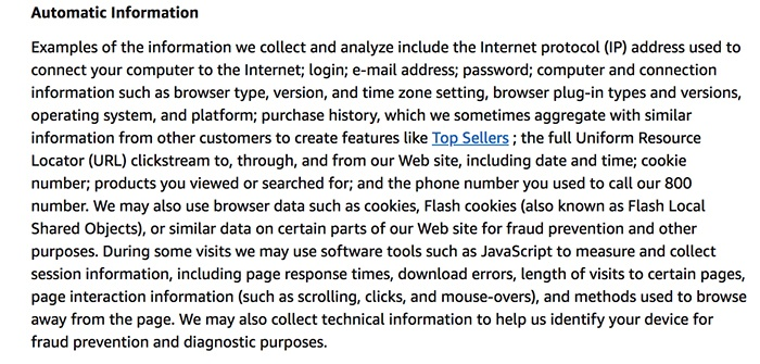 Amazon Privacy Notice: Automatic Information clause
