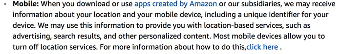 Amazon Privacy Notice: Mobile Information clause