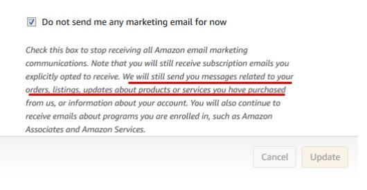 Amazon UK: Email marketing settings checkbox with disclaimer