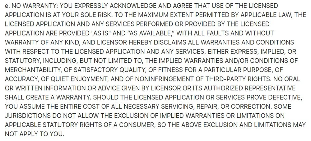Apple Media Services Terms and Conditions: No Warranty clause