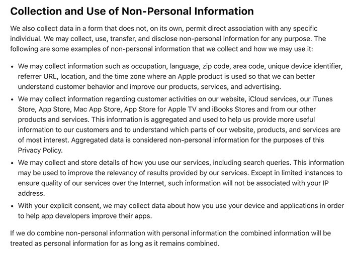 Apple Privacy Policy: Collection and Use of Non-Personal Information clause