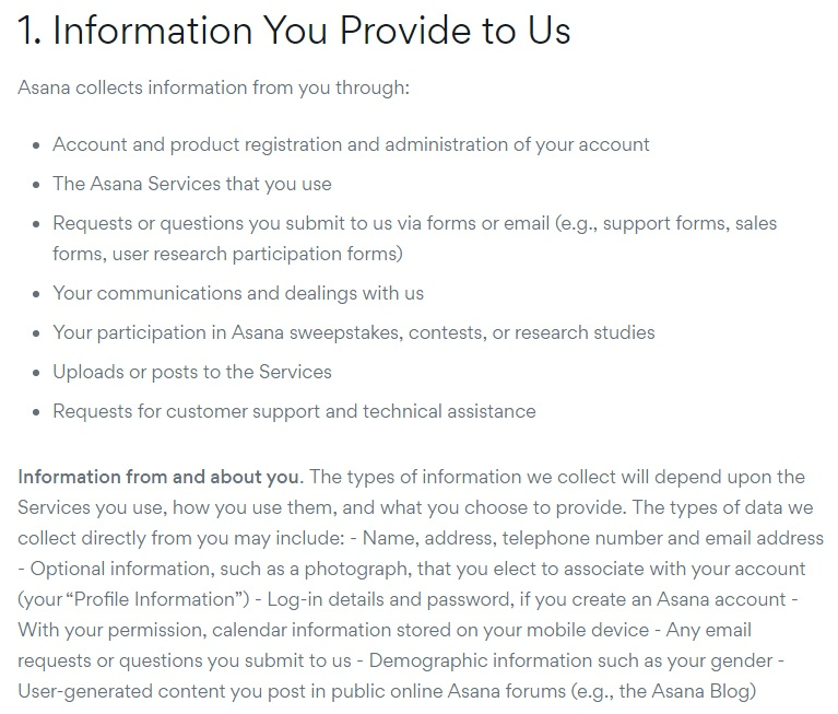 Asana Privacy Policy: Information You Provide to Us - From and About You clause excerpt