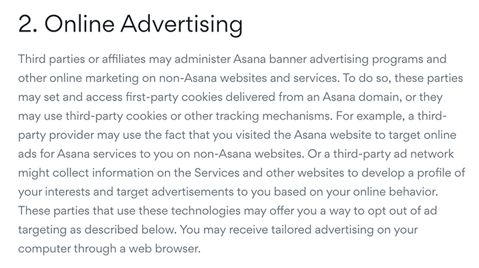 Asana Privacy Policy: Online Advertising clause