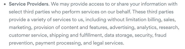 Asana Privacy Policy: Service Providers clause