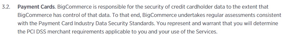 BigCommerce Terms of Service: Payment Cards clause