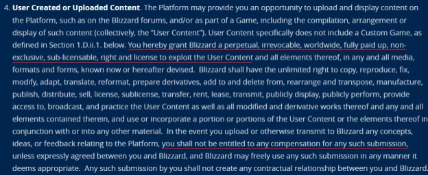Blizzard EULA: User created or uploaded content clause