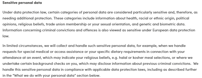 Carlsberg Privacy Policy: Sensitive personal data clause
