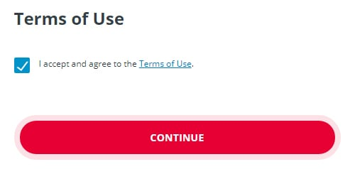 Equifax: Clickwrap checkbox and Continue button to accept and agree to Terms of Use - checked