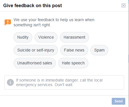 Facebook feedback on post form with options list