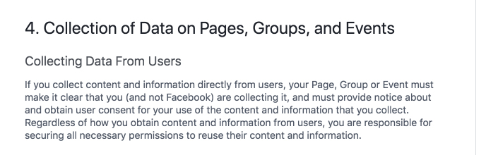 Facebook General Policies on Pages, Groups and Events: Collecting Data from Users clause with Privacy Policy requirement