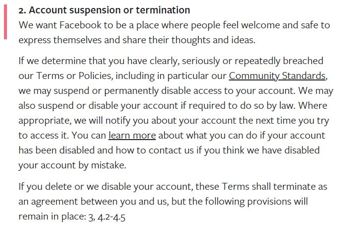 Facebook Terms of Service: Account suspension or termination clause