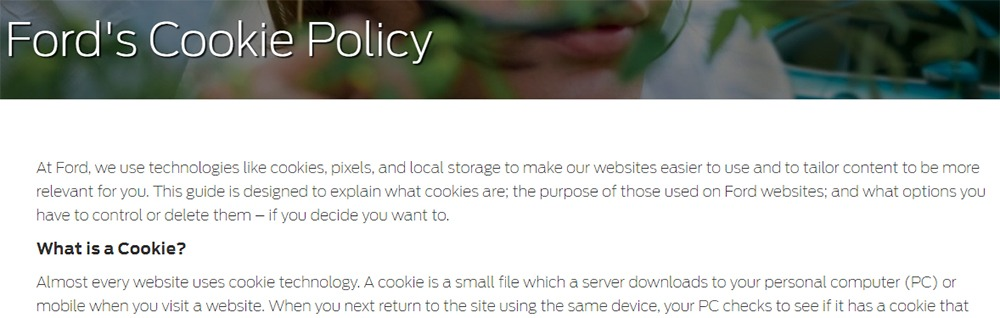 Ford UK Cookie Policy intro screenshot