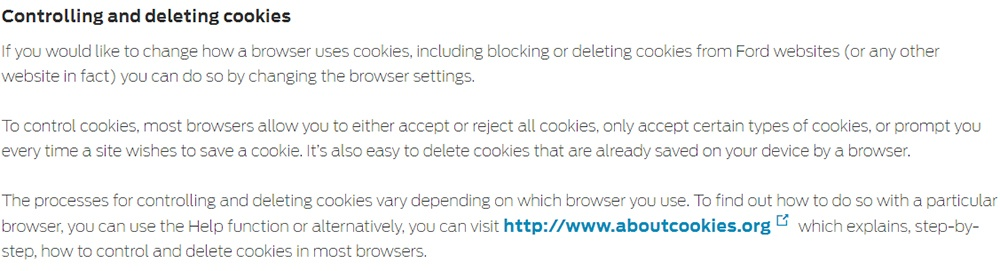 Ford UK Cookie Policy: Controlling and deleting cookies clause