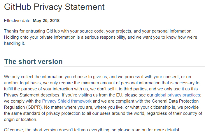 GitHub Privacy Statement: Intro and Short Version clause