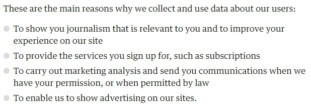 The Guardian Privacy Policy intro clause: Main reasons we collect and use data