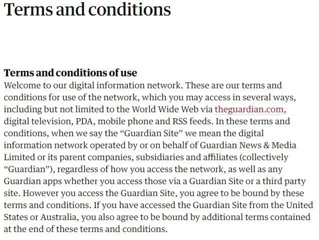 The Guardian Terms and Conditions of Use - Screenshot of intro