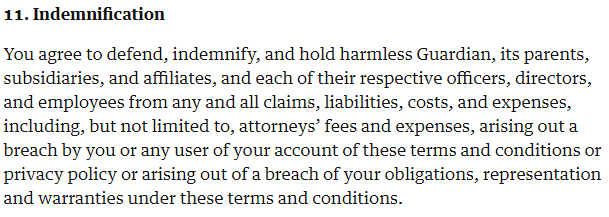 The Guardian Terms of Service: Indemnification clause