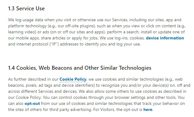 LinkedIn Privacy Policy: Information we collect - Service Use and Cookies and Other Technologies clauses