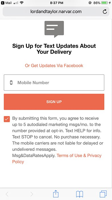 Lord and Taylor mobile sign-up form for text delivery updates with clickwrap checkbox to agree and consent