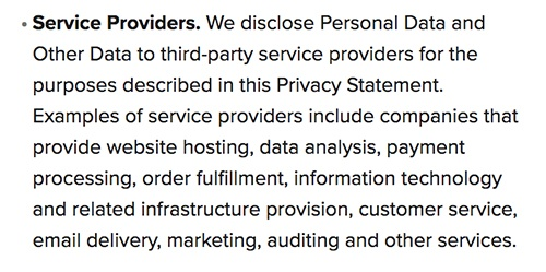 Marriott Privacy Statement: Disclosure of Personal Data - Service Providers clause
