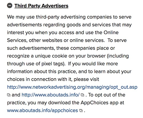 Marriott Privacy Statement: Third Party Advertisers clause