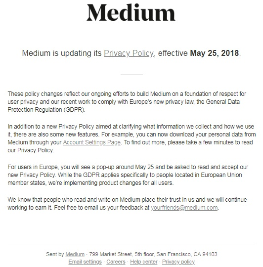 Screenshot of Medium's Privacy Policy update notification email