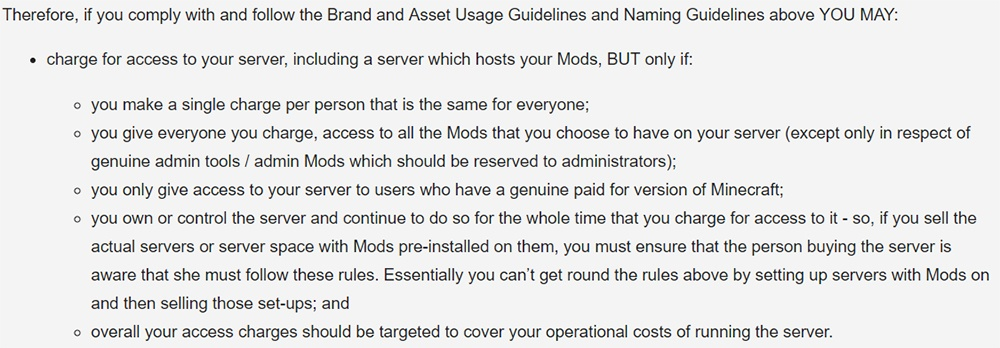 Minecraft Commercial Guidelines: Charging access to server and mods - Requirements clause