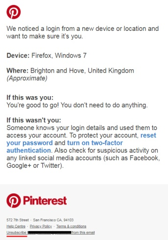Pinterest UK mobile email alert for new device login security - screenshot