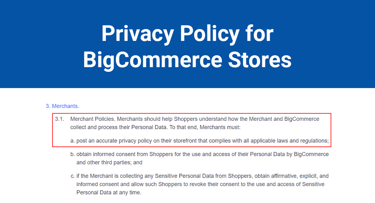 Privacy Policy for BigCommerce Stores