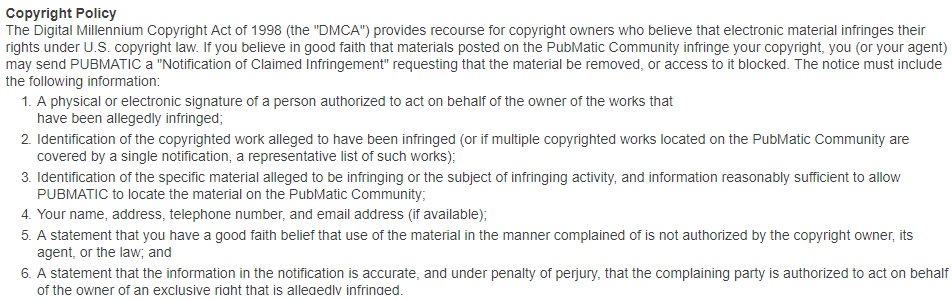 PubMatic Terms and Conditions: Copyright policy clause