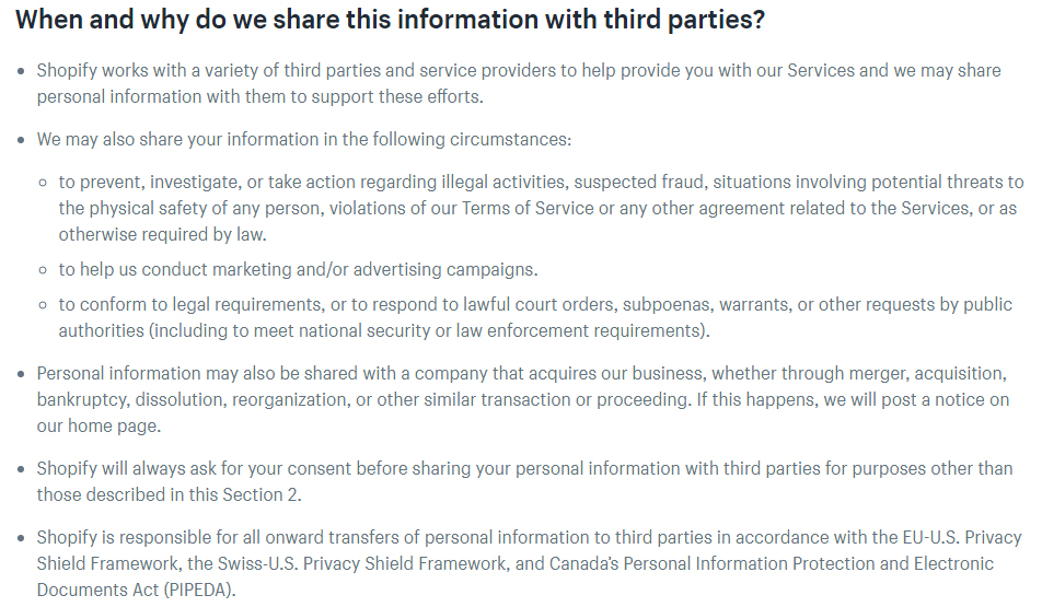 Shopify Privacy Policy: When and why do we share this information with third parties clause