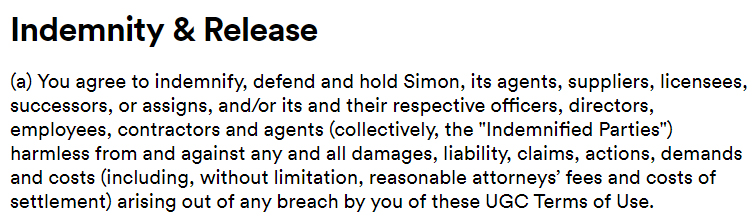Simon Terms of Use for User Generated Content Policy: Indemnity and Release clause
