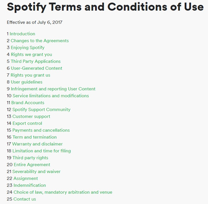 Spotify Terms and Conditions of Use Table of Contents updated