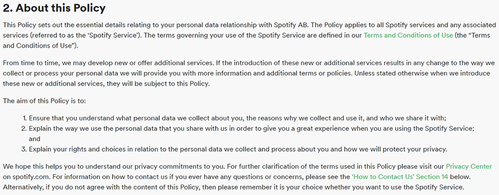 Spotify UK Privacy Policy: About this Policy clause