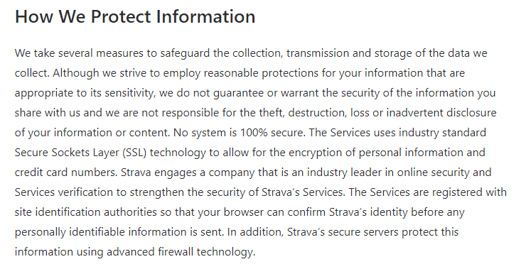 Strava Privacy Policy: How We Protect Information clause