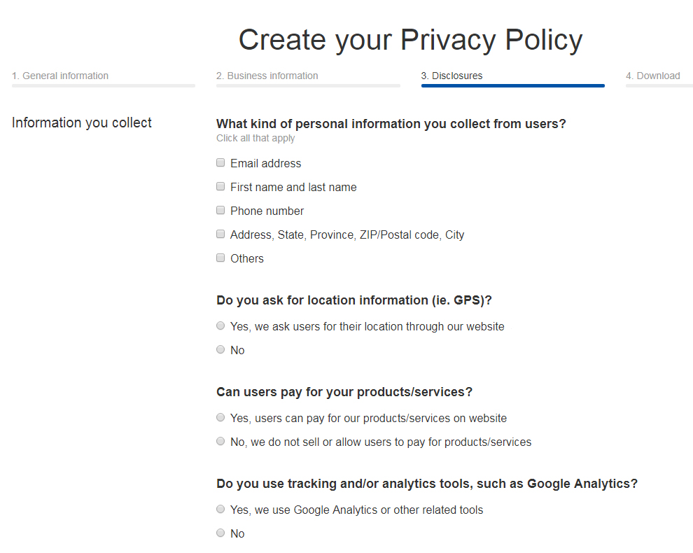TermsFeed Privacy Policy Generator: Answer questions about business practices - Step 3