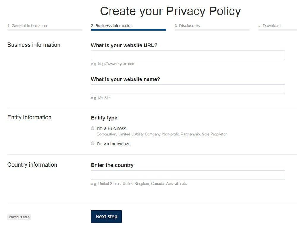 b463e38b225 TermsFeed Privacy Policy Generator  Answer questions about website - Step 2