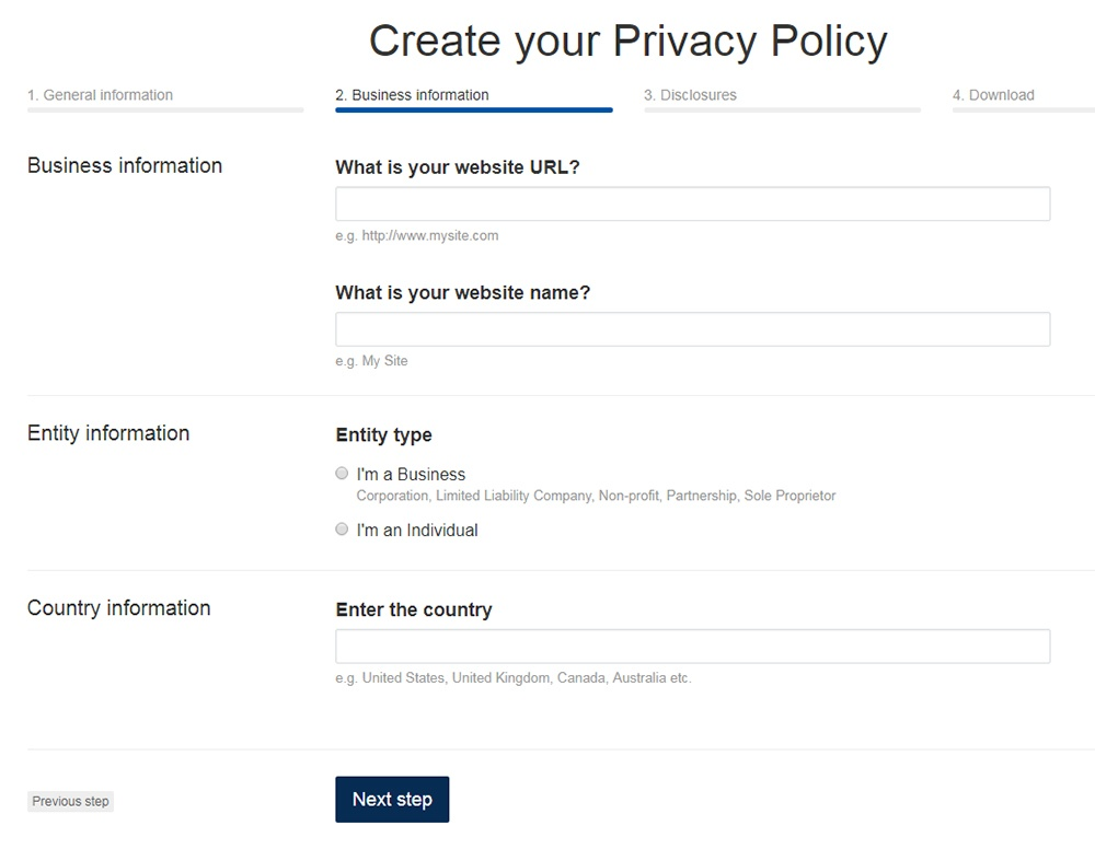 TermsFeed Privacy Policy Generator: Answer questions about website - Step 2