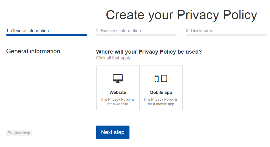 TermsFeed Privacy Policy Generator: Create Privacy Policy for Mobile App - Step 1